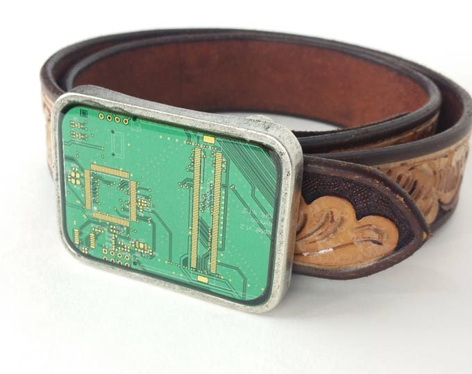 Green and Gold Circuit Board Belt Buckle