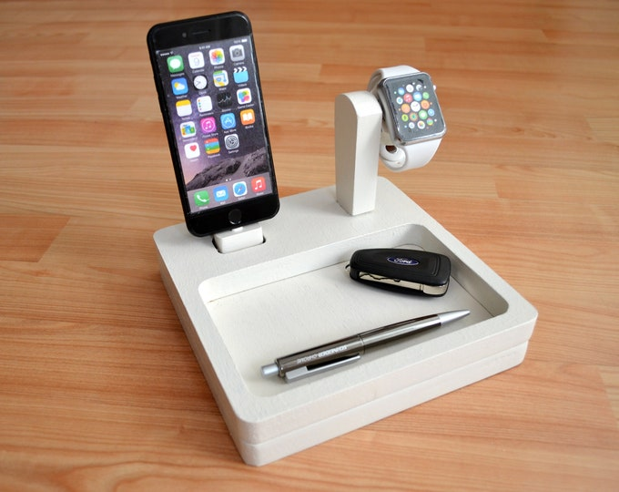 iphone charging station Apple Watch stand docking station gift Cradle Stand IDOQQ Ultimate 2 White Oak Station, iphone x 16 color
