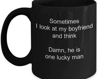 Girlfriend gift - Valentines day - Lucky boyfriend - Coffee mug and Metallic Mug