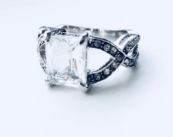 Clear Crystal CZ 10k Gold Filled Ring size 7
