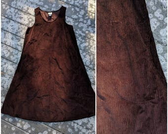 Vintage Brown Corduroy Bib Dress || Full Length Jumper w Pockets, Large