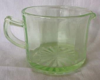 Vertical Paneled Uranium Green Creamer