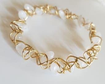 Moonstone Bangle Bracelet, Moonstone Bracelet, Handmade Bracelet, Nu-Gold Bracelet, Natural stones, White stones, Nu-Gold
