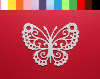 "4 Intricate Lace Butterfly Die Cuts 3 3/8"" x 2 1/2"" - Choose your color Cardstock Paper Butterfly Embellishments, Scrapbooking, Card Making"
