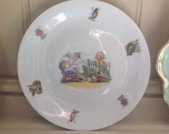 Vintage China children's plate by M Z Czechoslovakia 1950s