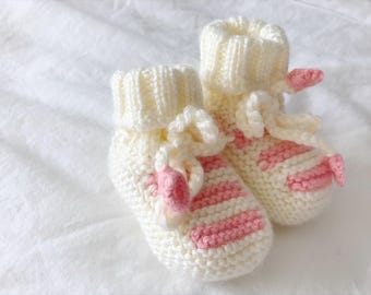 Off White/Pink Baby Booties | Knitted Baby Booties | Baby Girl Booties | Hand Knit Stripe Baby Booties