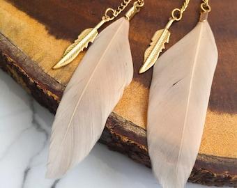 Gold Feather Long Dangle boho chic earrings