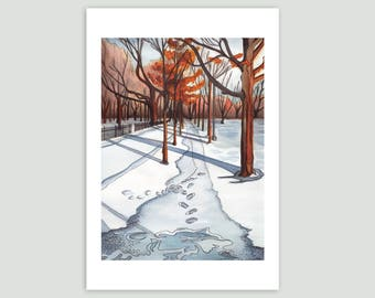 A Walk in Trinity Bellwoods Park, Toronto – Fine Art Print of Original Watercolour Painting – Large Size