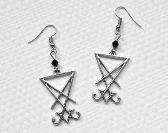 earrings sigil seal lucifer silver gothic occult esoteric satan satanic pagan witch witchcraft witchy dark