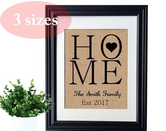 HOME Personalized Burlap Print,New Home House Warming Gift, Personalized Rustic Wedding Gift for couples, Engagement gift, Anniversary Gift