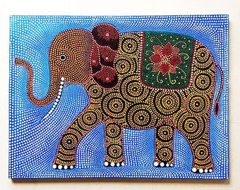 Balinese Painting - Elephant Parade Dot Paintings