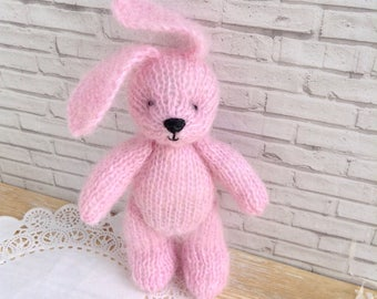 Photography prop toy, knitted bunny rabbit, newborn props, photo props, knit bunny, stuffed animals, mohair bunny, pink bunny, 6 inches