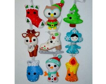 Christmas ornaments Christmas gifts Set of 9 Christmas tree ornaments Christmas decorations Christmas felt decor Christmas felt toys