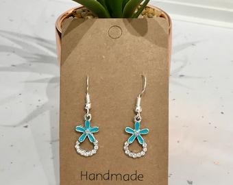 Rhinestone Turquoise Flower Hook/Dangly Earrings