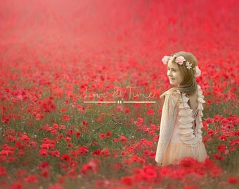 Poppy field Outdoor Digital Background - Instant Download