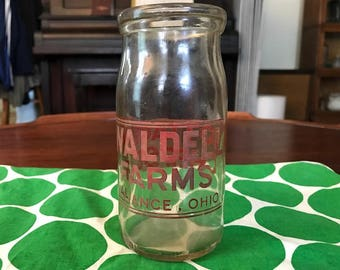 Vintage 1945  Waldell Farms Alliance, Ohio Cottage Cheese Glass Bottle - Rare