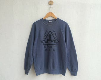 vintage blue plenty tough sport sweatshirt big logo spell out nice desigm
