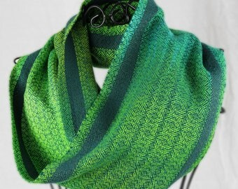 Handwoven Vibrant Varied Green Long Cowl, Tencel and Bamboo, Handwoven Gifts