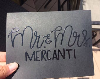 Clear Embossed Mr and Mrs Wedding Card