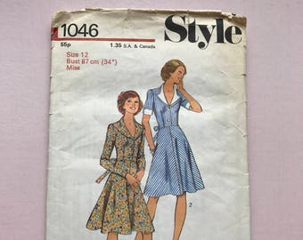 Style 1046 Retro Vintage 1970's Fitted Day Dress Tea Dress Sewing Pattern Size 12 Bust 87 cm 34 inches