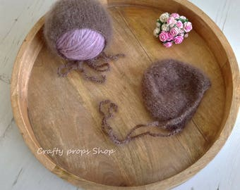 Knitt newborn bonnet,Knitted baby bonnet,Super soft baby bonnet,Photography Prop,Knitted baby boy bonnet,Photo prop bonnet,Fluffy bonnet,RTS