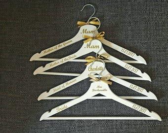 Personalised Wedding Hangers, Bridal Party Hangers, Wedding dress Hangers, Hangers with name date & role.