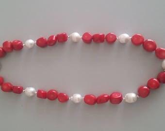 Coral with Baroque Pearl Necklace