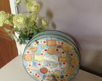Huntley & Palmers Vintage Biscuit Tin, Storage, Display, Prop