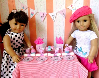 American Girl French Party Supplies 18 Inch Dolls Paris Birthday Party: Banner Cupcakes Plates Cups Napkins Favor Bags Accessories