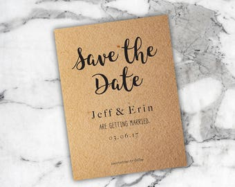 Save the Date - Kraft Invitations - Wedding Invitation - Wedding Card - Printable Wedding Invitations - Rustic Save the Date -