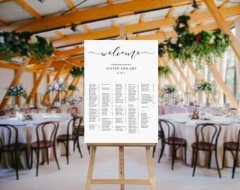 Wedding Seating Chart - Wedding Seating - Alphabetical Seating Plan - Wedding Chart - Printable Chart - Wedding Sign - Table Names