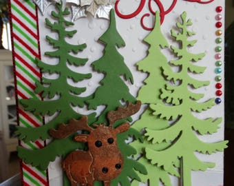 Moose, large Pine Tree Christmas Card