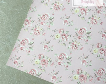 Pink Floral Leather Fabric - Craft & Bow Maker Fabric - A4 Sheet