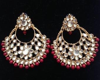 Kundan Chandbali Earring Maroon,Gold, Traditional Wedding Jewellery,Indian Earrings, Accessories,Antique Look,ethnic earrings,Bridal Earring