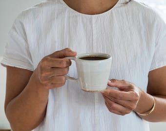 Stoneware Coffee Cup and Saucer [ Handled Mug, Tea Mug, Cup, Ceramic Mug, Saucer, Breakfast ]
