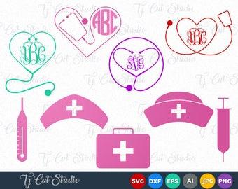 Nurse SVG, medical svg, nurse monogram svg, Files for Silhouette Cameo or Cricut, Commercial & Personal Use.