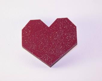 Brooch Burgundy Red geometric heart in gold glitter