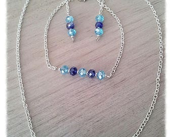 Set three pieces of blue beads