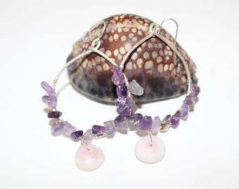 silver hoops with amethyst and puka shells
