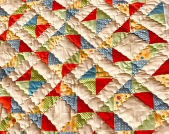 Gender neutral patchwork quilt - nursery quilt - lap quilt -  free shipping