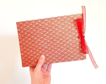 Red and Gold Handmade Notebook - A5 Landscape - Coptic Stitch