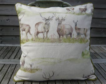 "18"" Moorland Stag print linen mix cushion cover with green back and piping 18"" square"