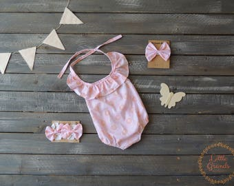 3-6 Month Pink and Orange Romper Set