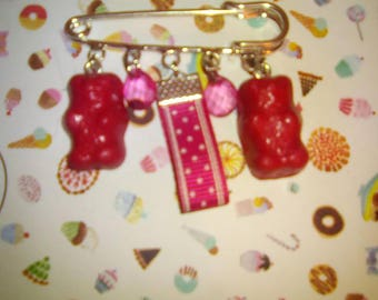 Candy bear brooch