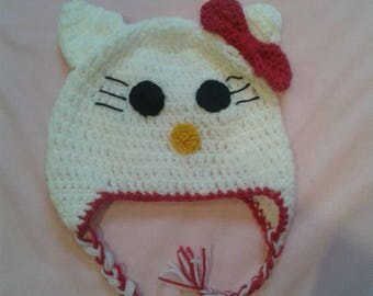 Hat crochet cat with bow hello kitty
