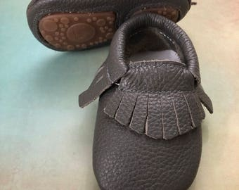 Pewter Gray & Rubber Sole Baby Moccasins