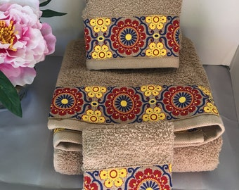 Tan Decorative Towel Red, Blue and Yellow