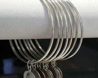 7 Silver Bangles With Coins 925 Silver