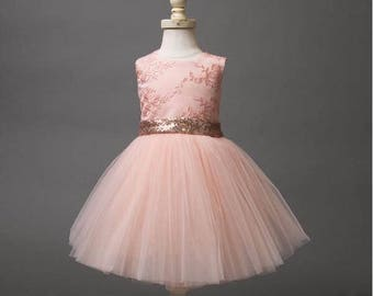 New cute mid-calf pink sheer lace back toddler flower girl dress kids beauty evening prom ball gowns baby birthday party frocks