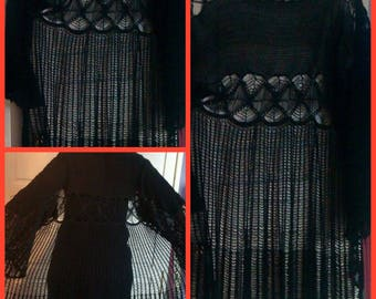 Soldes30%! CODE: SOLDESCNS. Chic and elegant long cardigan for Lady crocheted black cotton T44 48